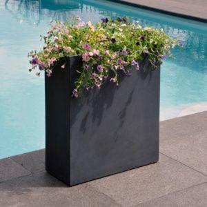 Pot de fleurs rectangulaire fibre de terre anthracite, léger et solide, résistant aux intempéries, indéformable Plantes et Jardins – Jardinerie en ligne