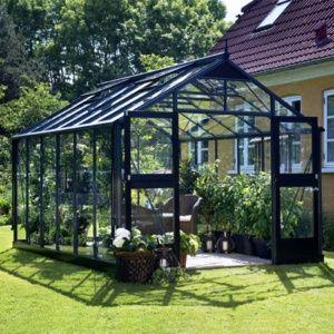 Serre de jardin en verre trempé Premium 13m² hors tout Anthracite Juliana