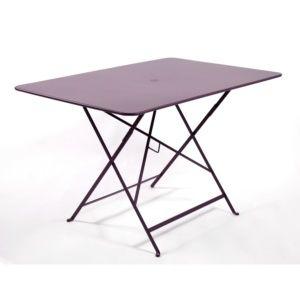 Table de jardin pliante Fermob Bistro acier l117 L77 cm prune