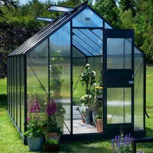 Serre Compact Plus anthracite noir 9.9 m² hors tout + 6 mm polycarbonate – Juliana