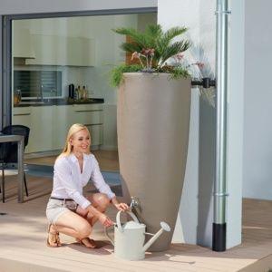 Récupérateur d'eau 2 en 1 avec bac à plantes 300 litres, Taupe, Garantia