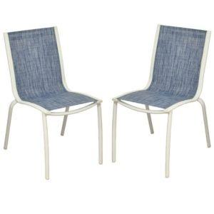Lot de 2 Chaises empilables Linea aluminium/textilène blanc/jean