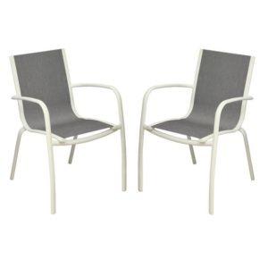 Lot de 2 Fauteuils empilables Linea aluminium/textilène blanc/argent