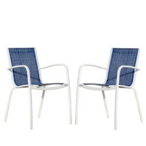 Lot de 2 Fauteuils empilables Linea aluminium/textilène blanc/jean