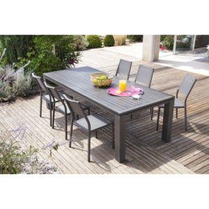Table de jardin Fiero en aluminium l240 L103 cm gris