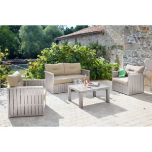 Salon de jardin Milano gris : Canapé + table basse + 2 fauteuils