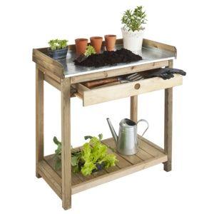 Table de préparation en pin et en acier Jardipolys