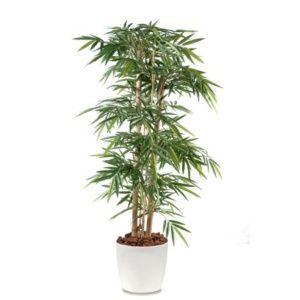 Bambou grosses cannes H150 cm semi-artificiel pot Elho blanc