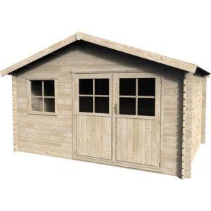Abri de jardin bois labellisé PEFC, double porte, 3 fenêtres, vitrage synthétique, sapin du nord naturel séché Plantes et Jardin – Jardinerie en ligne