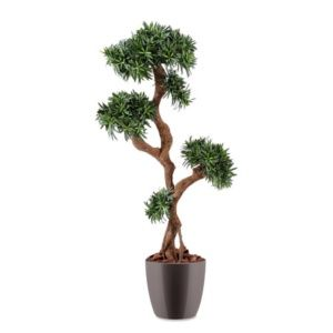 Podocarpus tree vert, H150cm artificiel rempoté en pot Elho gris