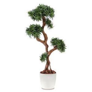 Podocarpus tree vert, H150cm artificiel rempoté en pot Elho blanc