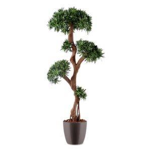 Podocarpus tree vert, H170cm artificiel rempoté en pot Elho gris