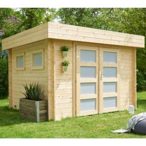 Abri de jardin en bois Kivik 9.52 m² Ep. 28 mm toit plat Madeira