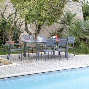 Table de jardin à allonge Messina aluminium l160/230 L100 cm taupe