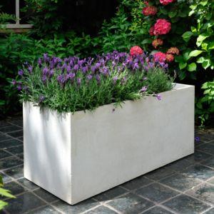 Bac à fleurs fibre de terre Clayfibre L100 H45 cm blanc