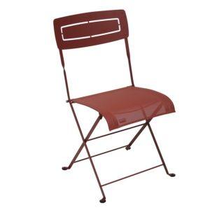 Chaise pliante Fermob Slim acier/textilène piment