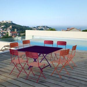 Salon de jardin Fermob : Table l128 L128 cm + 8 chaises