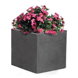 Bac à fleurs fibre de terre Clayfibre L44 H38 cm anthracite