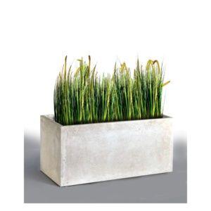 Bac à fleurs fibre de terre Clayfibre L80 H40 cm blanc