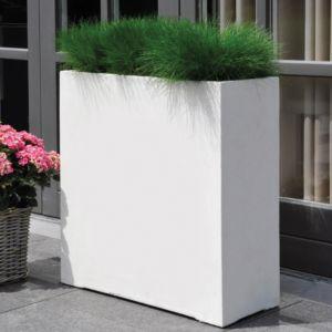 Bac à fleurs fibre de terre Clayfibre L60 H72 cm blanc