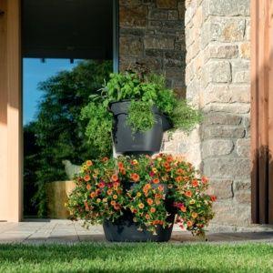 2 Pots Lechuza Cascada/Cascadino gris + Kit d'extension. PLANTES ET JARDIN – Jardinerie en ligne