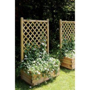 Bac à fleurs et treillis en bois traité L80 H28 cm Lierre