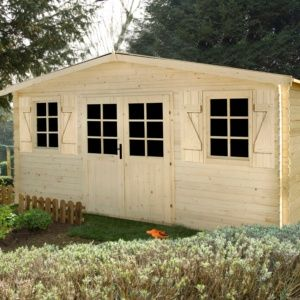 Abri de jardin en bois naturel 28 mm – 20.58 m² hors tout – Louvie – Plantes et Jardins – Jardinerie en ligne