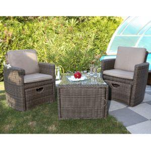 Salon de jardin en résine CUPIDO coloris brun clair : 2 fauteuils avec tabourets + 1 table plateau verre