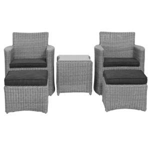 Salon de jardin tressé CUPIDO : 2 fauteuils avec tabouret+ 1 table plateau verre – Kettler