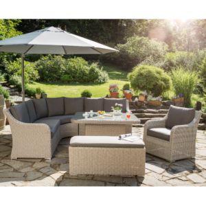 Salon de jardin tressé MADRID : 1 canapé + 1 table + 1 fauteuil + 1 banc – Sable/Gris – Kettler