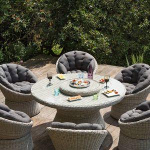 Salon de jardin tressé Barcelona : 2 fauteuils + 1 table – Sable/Gris – Kettler