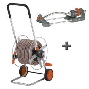 Dévidoir métallique équipé + Arroseur oscillant polo-Gardena