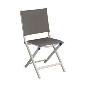 Chaise pliante Thema en aluminium et textilène – Blanc/Argent – Lot de 6