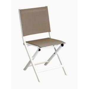 Lot de 6 Chaises pliantes Thema aluminium/textilène taupe