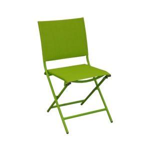 Chaise pliante Globe acier/textilène vert