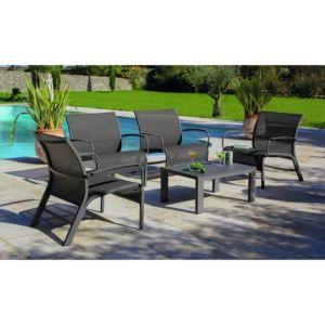 Salon de jardin lounge Linea : 1 table basse + 4 fauteuils aluminium/textilène gris