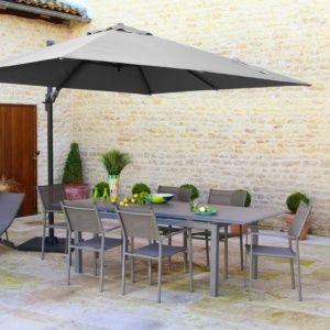 Table de jardin à allonge Louisiane aluminium l180/240 L100 cm taupe