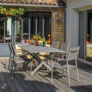 Table de jardin Bridge aluminium l220 L100 cm taupe