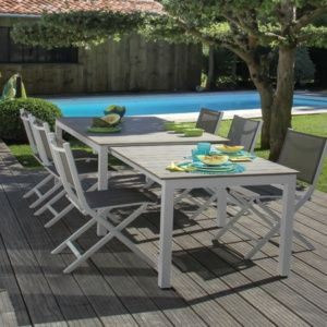 Table de jardin Thema à allonge aluminium l170/290 L90 cm blanc/taupe
