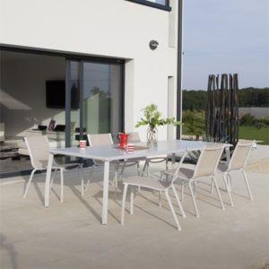 Salon de jardin : Table Azuro l225 L100 cm + 6 chaises Linea lin