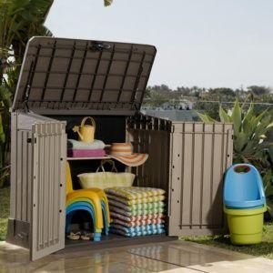 Coffre de jardin résine Midi 845L beige – Chalet et Jardin