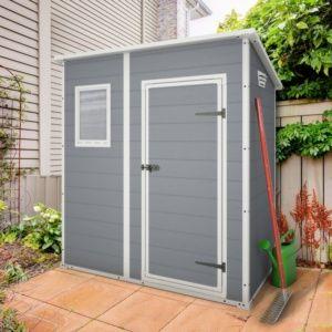 Petit abri de jardin adossable en résine 1,6 m² toit monopente Premium 64