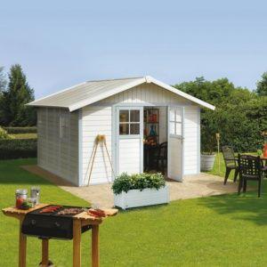 Abri de jardin résine Grosfillex 15.05 m² Ep. 26 mm Deco gris/bleu – Plantes et Jardins – Jardinerie en ligne