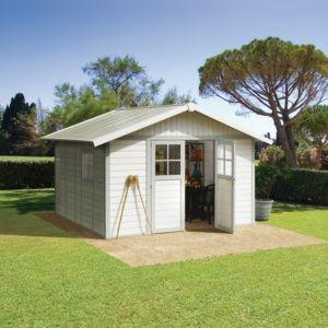 Abri de jardin résine Grosfillex Déco 15.05 m² Ep. 26 mm gris/vert + Kit d'ancrage
