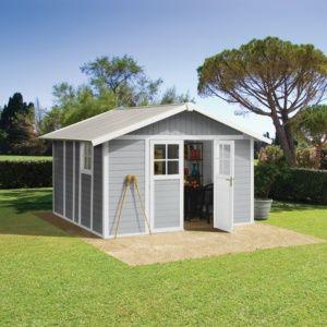 Abri de jardin résine Grosfillex 15.05 m² Ep. 26 mm Deco gris – Plantes et Jardins – Jardinerie en ligne