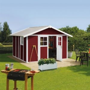 Abri de jardin résine Grosfillex Déco 15.05 m² Ep. 26 mm rouge + Kit d'ancrage