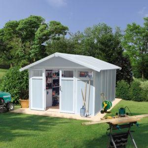 Abri de jardin résine Grosfillex 15.05 m² Utility gris/bleu – Plantes et Jardins – Jardinerie en ligne