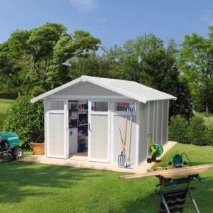 Abri de jardin résine Grosfillex 15.05 m² Ep. 26 mm Utility gris/vert – Plantes et Jardins – Jardinerie en ligne