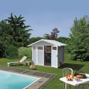 Abri de jardin résine Grosfillex 7.69 m² Ep. 26 mm Deco gris/bleu