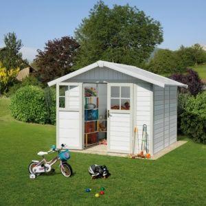Abri de jardin résine Grosfillex 7.69 m² Ep. 26 mm Deco gris/vert